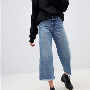 ASOS Weekday Crop Raw Hem Wide Leg Jeans